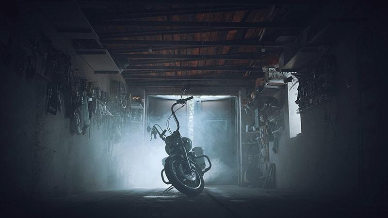 motorcycle in garage