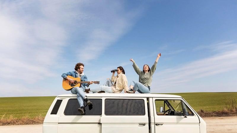 celebrating on road trip